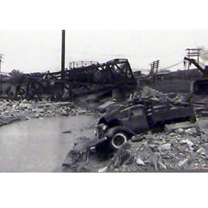 Scene from the 1947 flood.  (Rutland Historical Society)